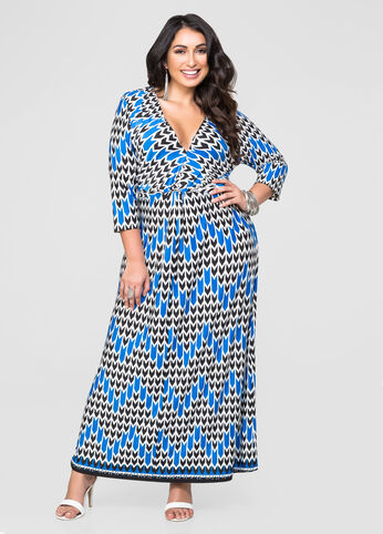 Printed Knot Front Maxi Dress