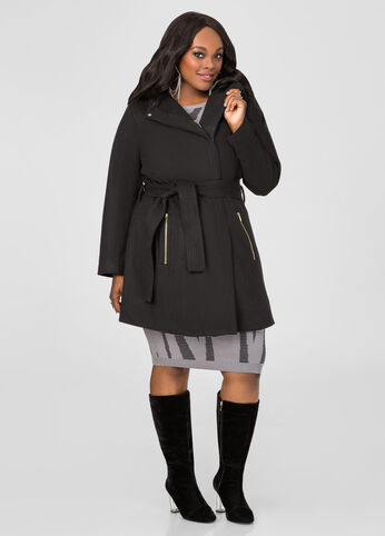 Belted Wool Blend Winter Coat