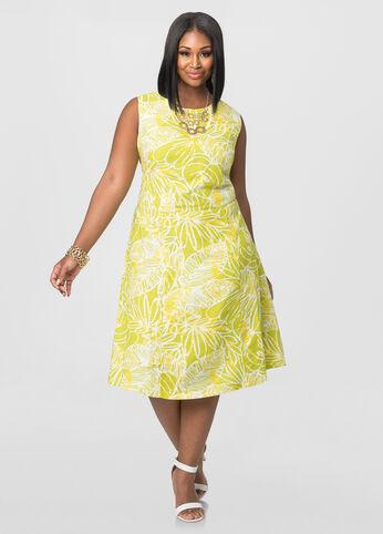Floral Linen Tie Back Dress