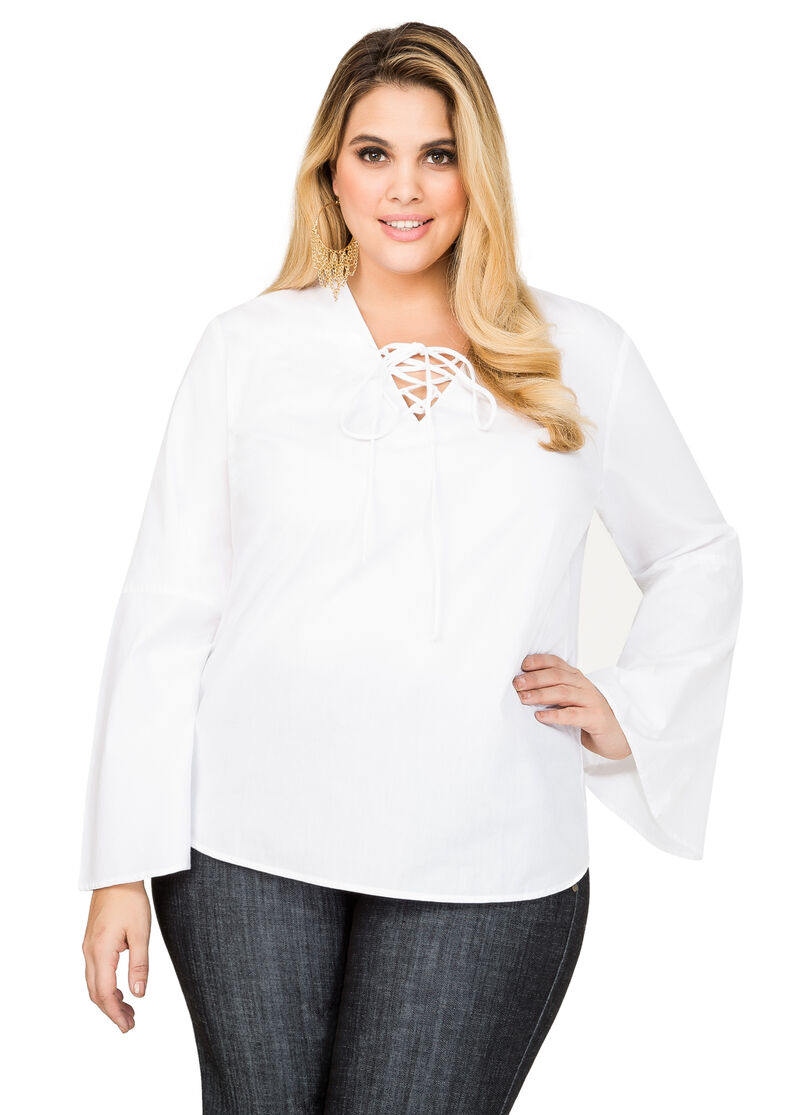 Lace up bell sleeve shirt plus size shirts ashley stewart for Bell bottom sleeve shirt