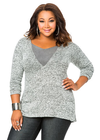 Faux Suede Insert Marled Knit Top