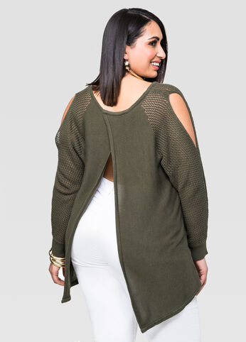 Open Weave Cold Shoulder Sweater