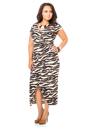 Animal Print Maxi Faux Wrap Dress