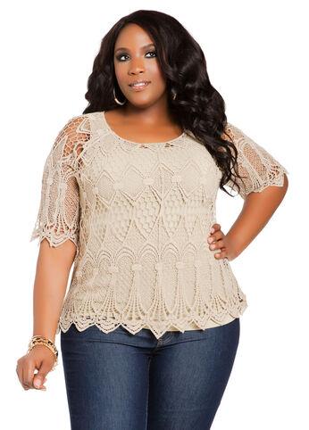 Short-Sleeve Crochet Sweater