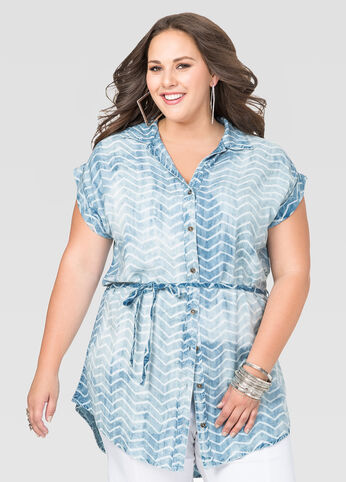 Denim Chevron Tie Dye Tunic