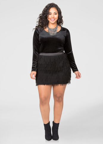 Short Laser Cut Fringe Skirt