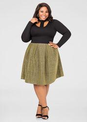 Metallic Box Pleat Skirt
