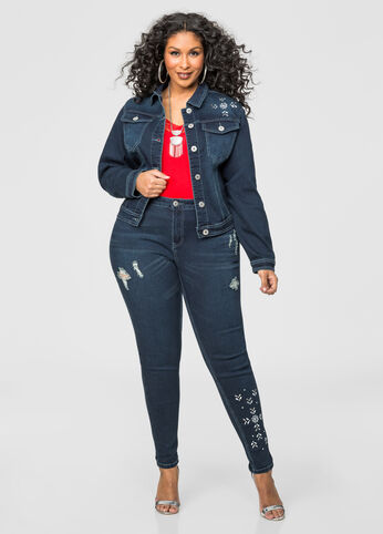 Destructed Jewel Leg Skinny Jean