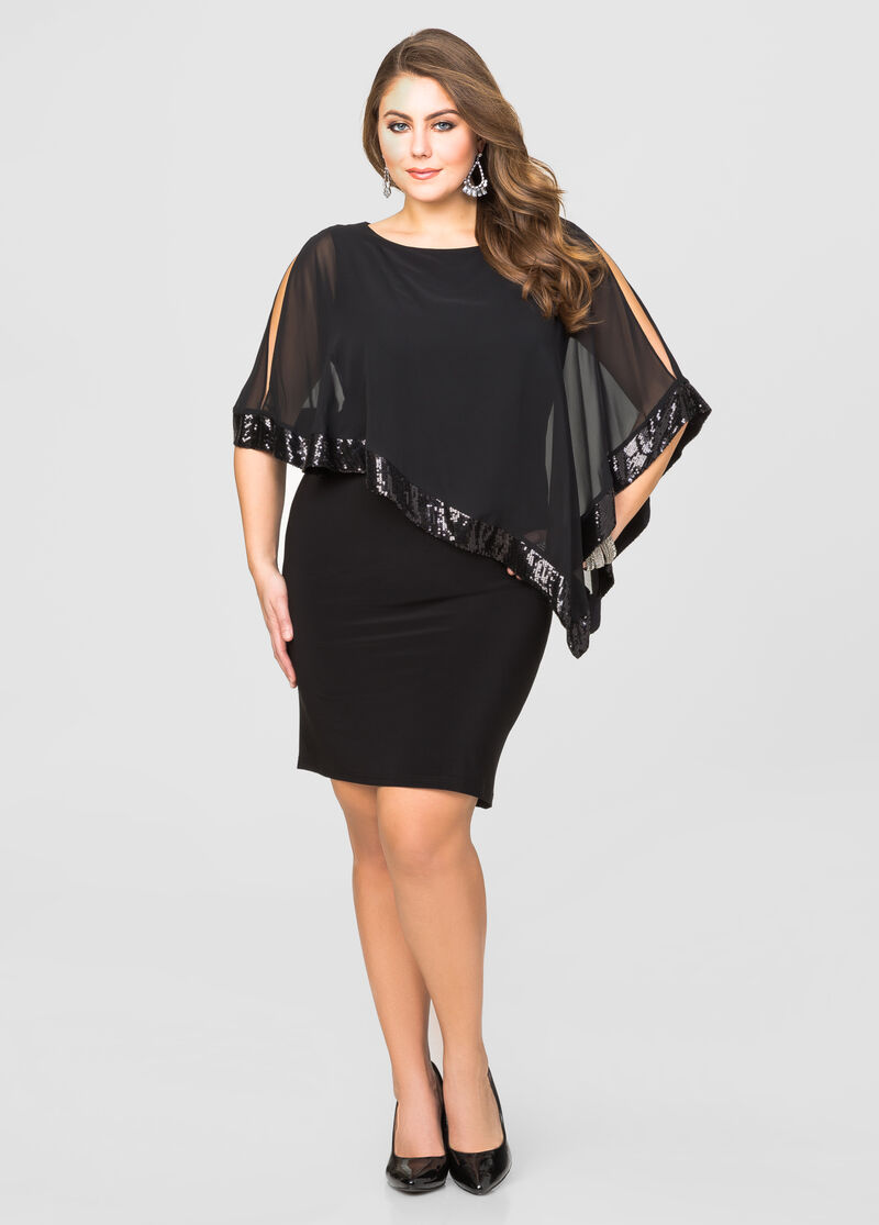 Sequin cape overlay dress plus size special occasion for Ashley stewart wedding dresses