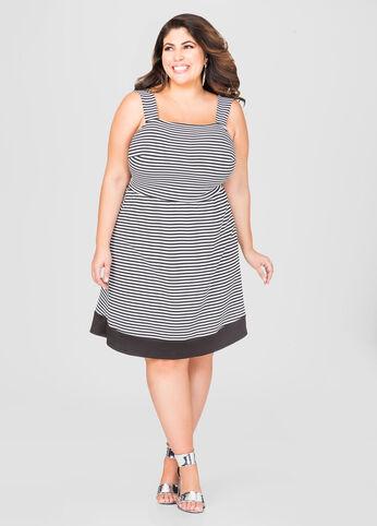 Plus Size Black & White Stripe Dress