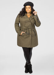 Military Zip Detail Trench Coat