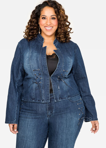 Lace-Up Detail Jean Jacket Medium Blue - Clearance