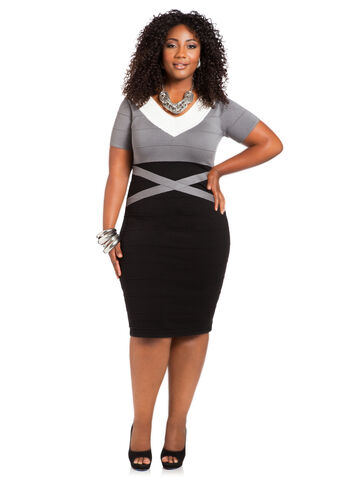 Tri-Tone Bodycon Sweater Dress