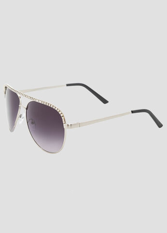 Medium Stone Trim Aviator Sunglasses