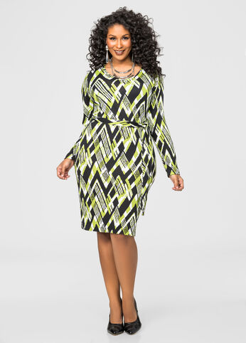Belted Geo Print Sweater Dress