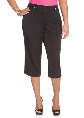 Button Side Tab Accent Capri Pant