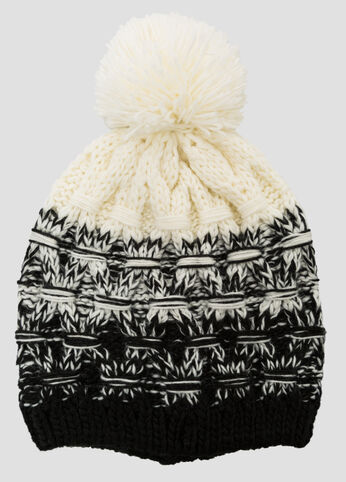 Marled Colorblock Pom Beanie Hat