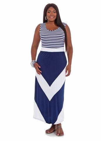 Striped Top Chevron Hem Maxi Dress