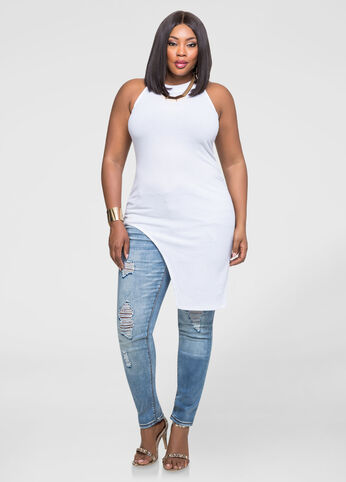 Plus Size Asymmetrical Mock Neck Tunic White