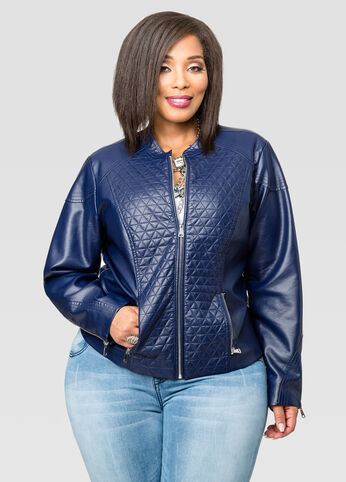 Quilted Faux Leather Zip Front Jacket