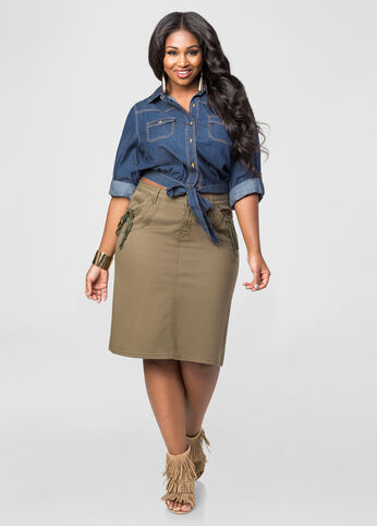 Shirred Pocket A-Line Skirt