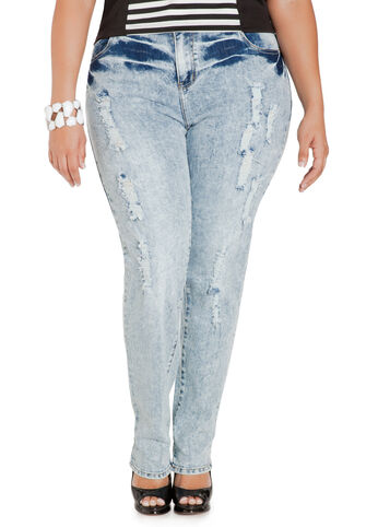 Bleach Wash Skinny Jeans
