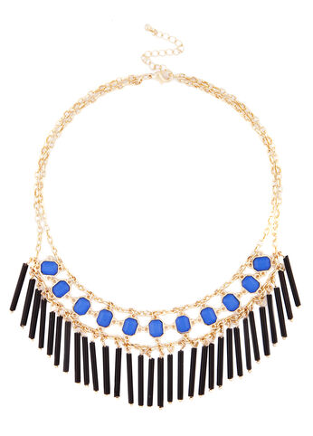 Bead and Stone Fringe Necklace