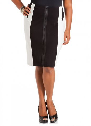 Color Block Ponte Pencil Skirt