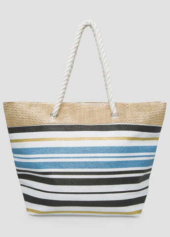 Large Metallic Stripe Straw Tote in Black