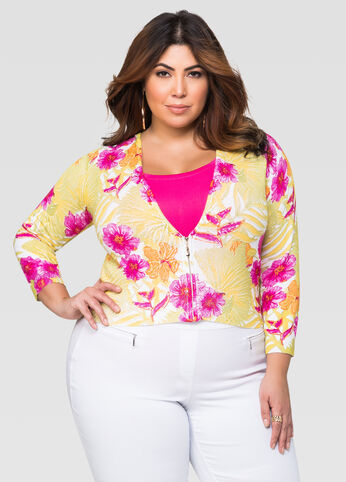 Floral Zip Front Cardigan
