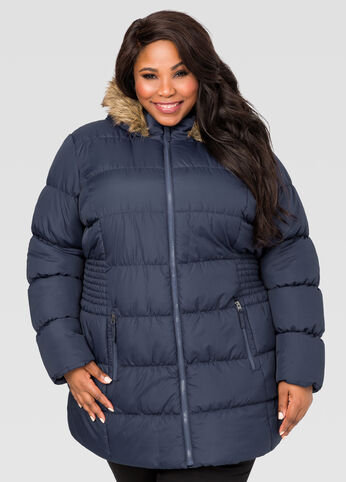Stitched Side Puffer Winter Coat
