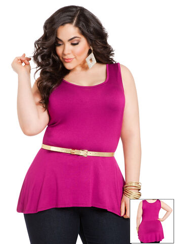 Sleeveless Hi-Lo Peplum Top