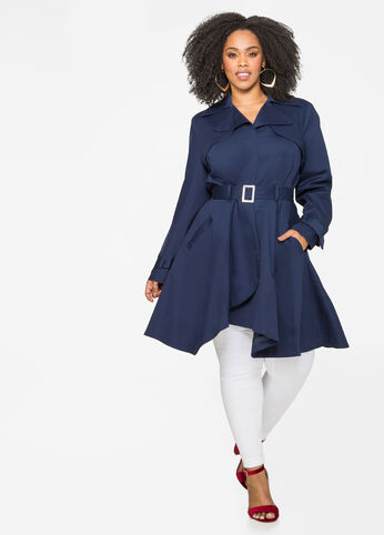 Belted A-Line Trench Coat