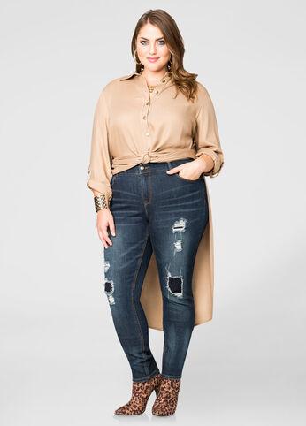 Rip Repair Crease Skinny Jeans
