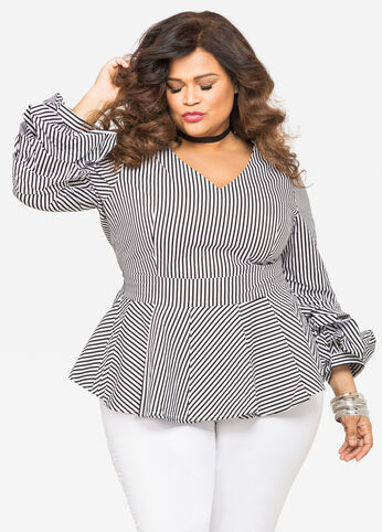 Striped Tiered Sleeve Peplum Shirt