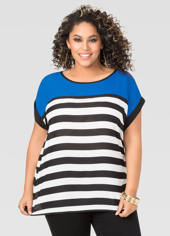 Striped Cage Back Tee