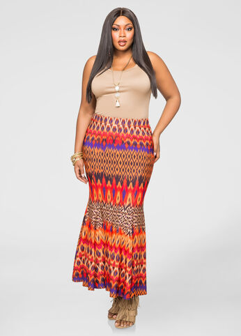 Ikat Fit N Flare Maxi Skirt