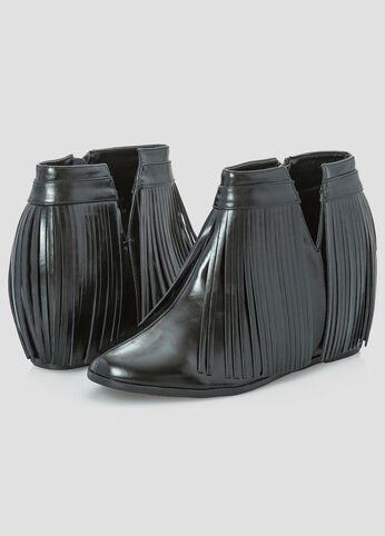All Over Fringe Wedge Bootie - Wide Width