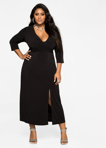 Surplice Front Slit Maxi Dress