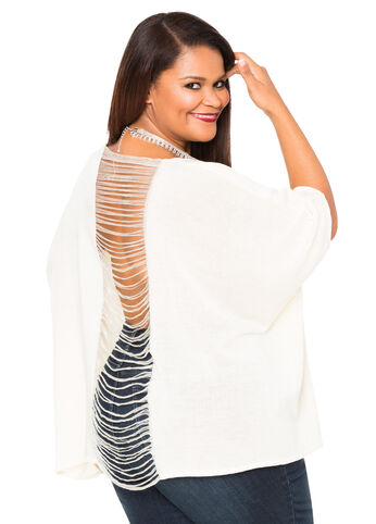 String Back Poncho Sweater