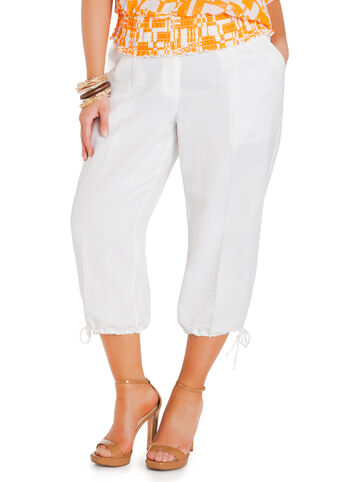 Drawstring Cuff Linen Capri Pants