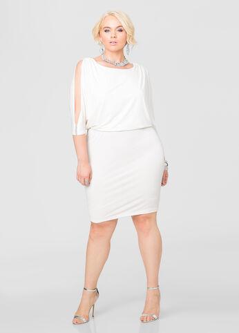 Slit Sleeve Stone Trim Blouson Dress