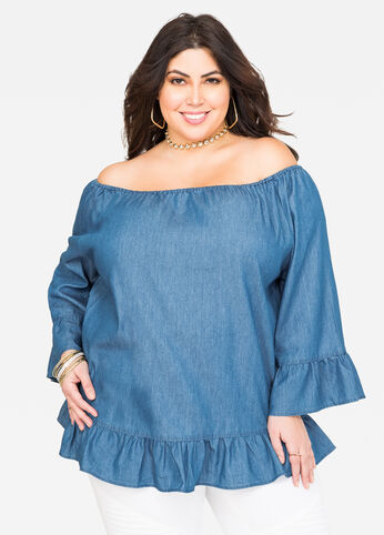 Denim Ruffle Off-Shoulder Top