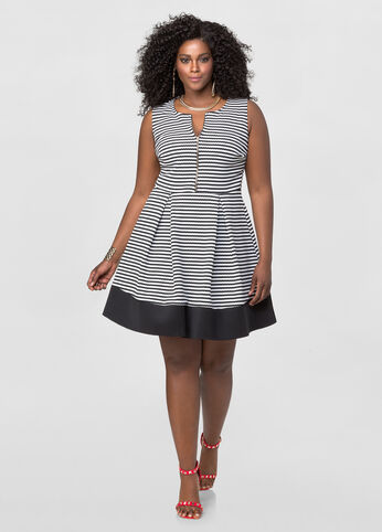Textured Stripe Skater Dress
