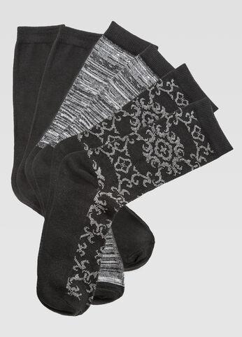 3-Pack Damask Marled Crew Socks