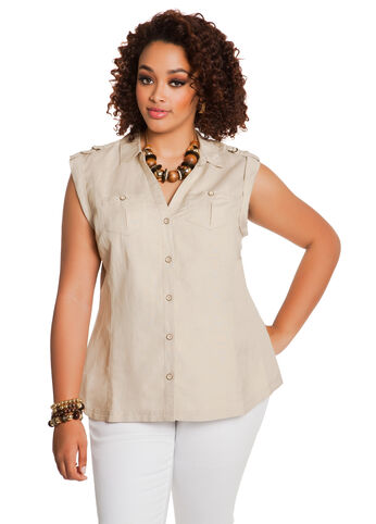 Sleeveless Tab-Shoulder Shirt