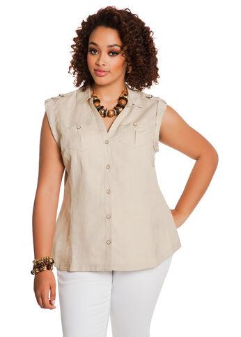 Sleeveless Tab-Shoulder Shirt