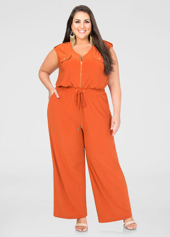 Military Wide Leg Jumpsuit