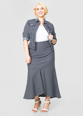 Railroad Stripe Denim Maxi Skirt
