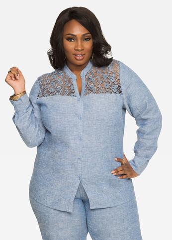 Crochet Lace Chambray Linen Shirt